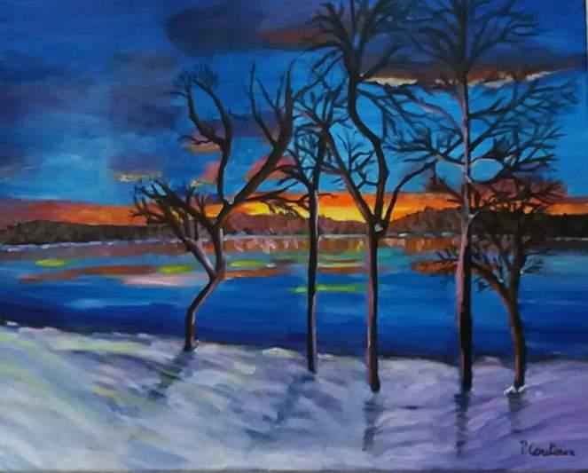 coucher de soleil en hiver sur le lac des settons acrylique
