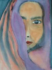 femme au foulard violet aquarelle