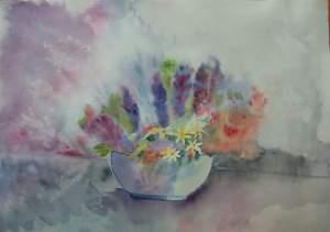 bouquet de lilas et de marguerites