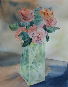 bouquet de roses aquarelle 30x40 cm