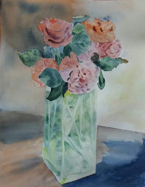 bouquet de roses aquarelle pascale coutoux