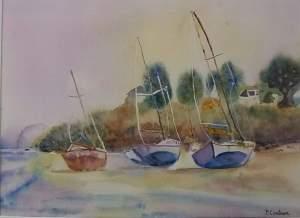 bateaux en bretagne aquarelle 30x40 cm 2018