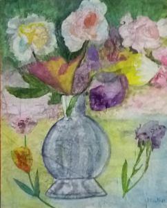bouquet imaginaire aquarelle sur toile texturée