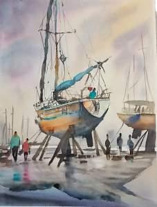 paysage portuaire aquarelle