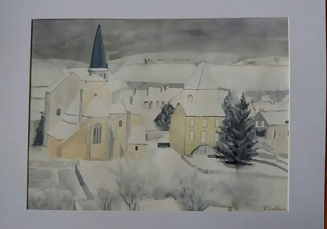 village du morvan aquarelle d'hiver