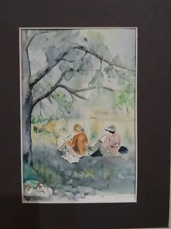 aquarelle annie guet moi et alicia sous un arbre