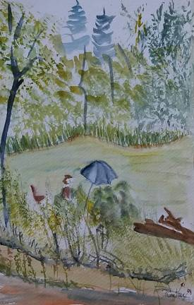 aquarelle aquarelliste au lac vallon
