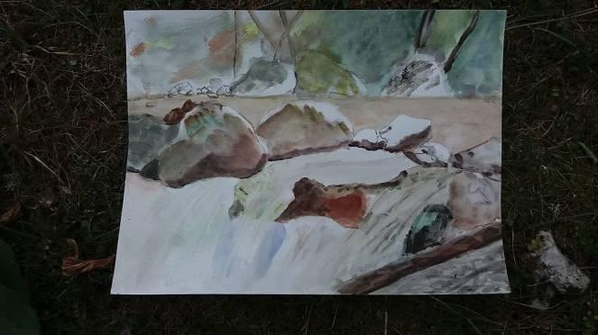 aquarelle cascade et cailloux près de la gouille sur le risse