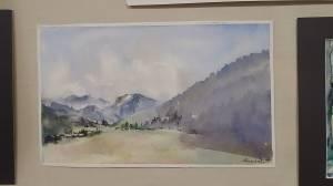 aquarelle de sylvie friedel village et montagne