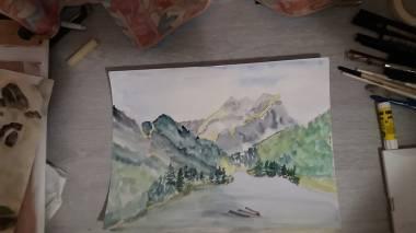 aquarelle lac vallon