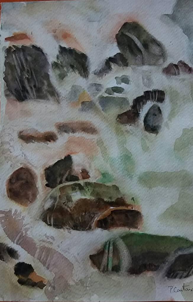 aquarelle le risse rivière et cailloux 1
