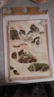 aquarelle le risse rivière et cailloux