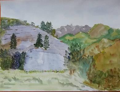aquarelle le rocher blanc 1