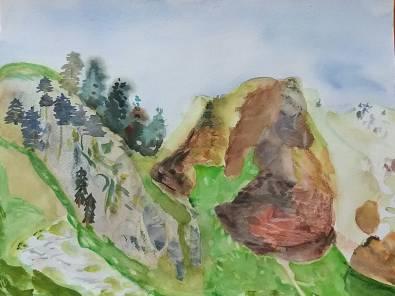 aquarelle rocher rouge sous la pointe de chalune
