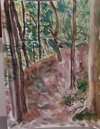 aquarelle sous bois