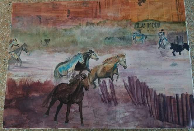 en camargue aquarelle sur toile