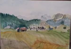 chalets à plaine joux aquarelle