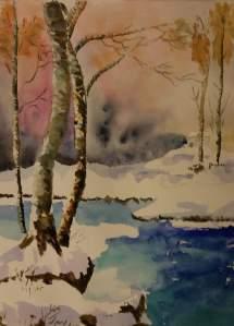 paysage hivernal aquarelle 40x50 cm p coutoux