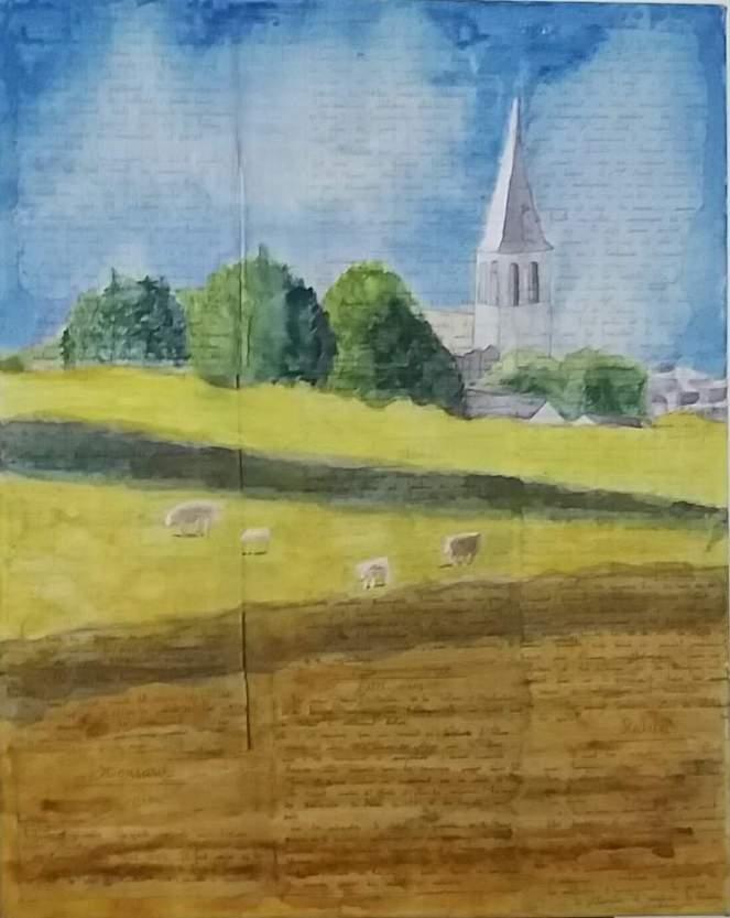 village du morvan (roussillon en morvan aquarelle été