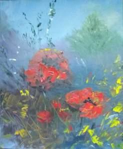 jaillissement floral huile sur toile